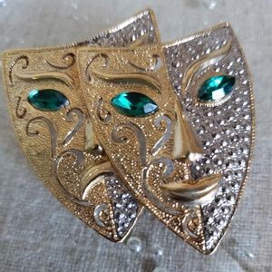 Vintage Comedy Tragedy Theatre Mask Brooch